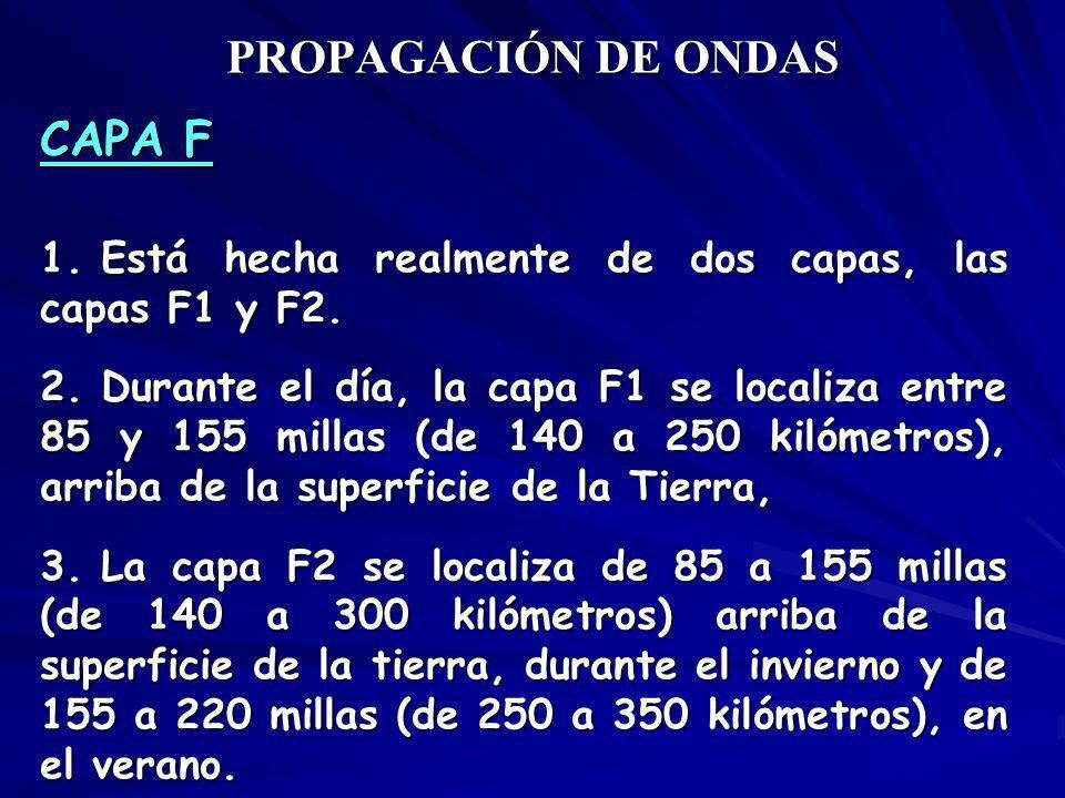 PROPAGACIÓN DE ONDAS CAPA F 1. Está hecha realmente de dos capas, las capas F1 y F2. 2. Durante el día, la capa F1 se localiza entre 85 y 155 millas (
