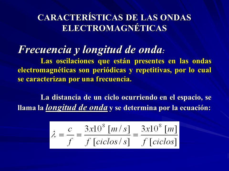 CARACTERÍSTICAS DE LAS ONDAS ELECTROMAGNÉTICAS Frecuencia y longitud de onda : Las oscilaciones que están presentes en las ondas electromagnéticas son