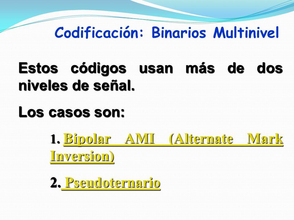 Codificación: Binarios Multinivel Estos códigos usan más de dos niveles de señal. Los casos son: 1. Bipolar AMI (Alternate Mark Inversion) Bipolar AMI