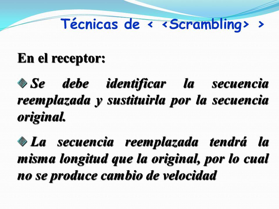 En el receptor: Se debe identificar la secuencia reemplazada y sustituirla por la secuencia original. Se debe identificar la secuencia reemplazada y s