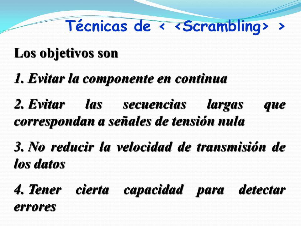 Los objetivos son 1. Evitar la componente en continua 2. Evitar las secuencias largas que correspondan a señales de tensión nula 3. No reducir la velo