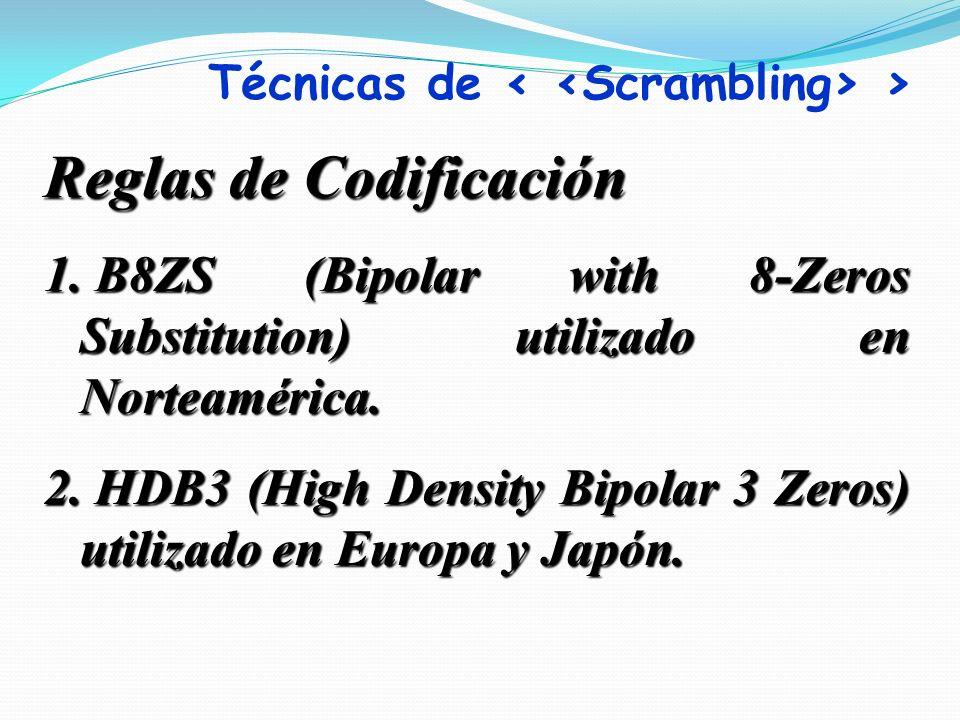 Reglas de Codificación 1. B8ZS (Bipolar with 8-Zeros Substitution) utilizado en Norteamérica. 2. HDB3 (High Density Bipolar 3 Zeros) utilizado en Euro