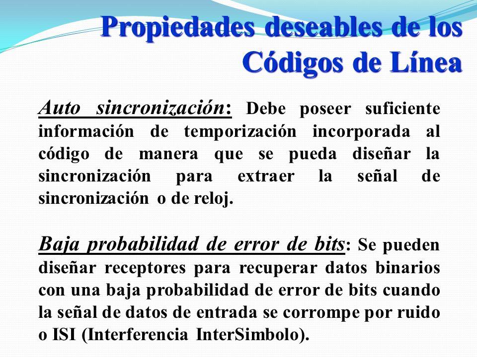 Propiedades deseables de los Códigos de Línea Auto sincronización: Debe poseer suficiente información de temporización incorporada al código de manera