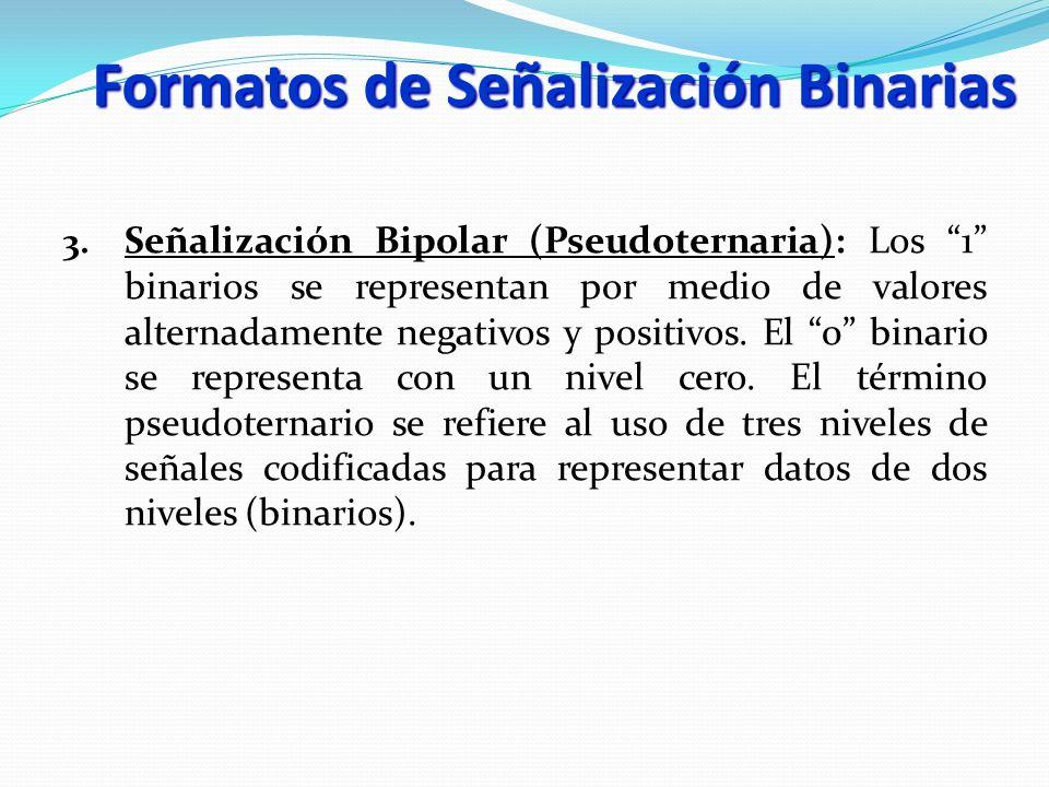 3. Señalización Bipolar (Pseudoternaria): Los 1 binarios se representan por medio de valores alternadamente negativos y positivos. El 0 binario se rep