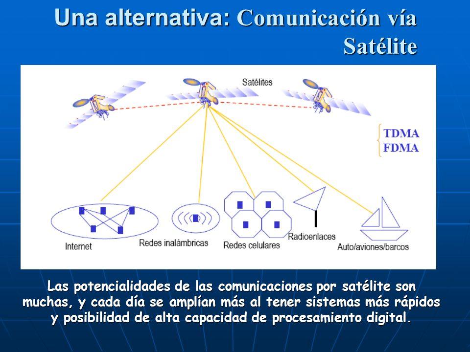 Una alternativa: Comunicación vía Satélite Las potencialidades de las comunicaciones por satélite son muchas, y cada día se amplían más al tener sistemas más rápidos y posibilidad de alta capacidad de procesamiento digital.