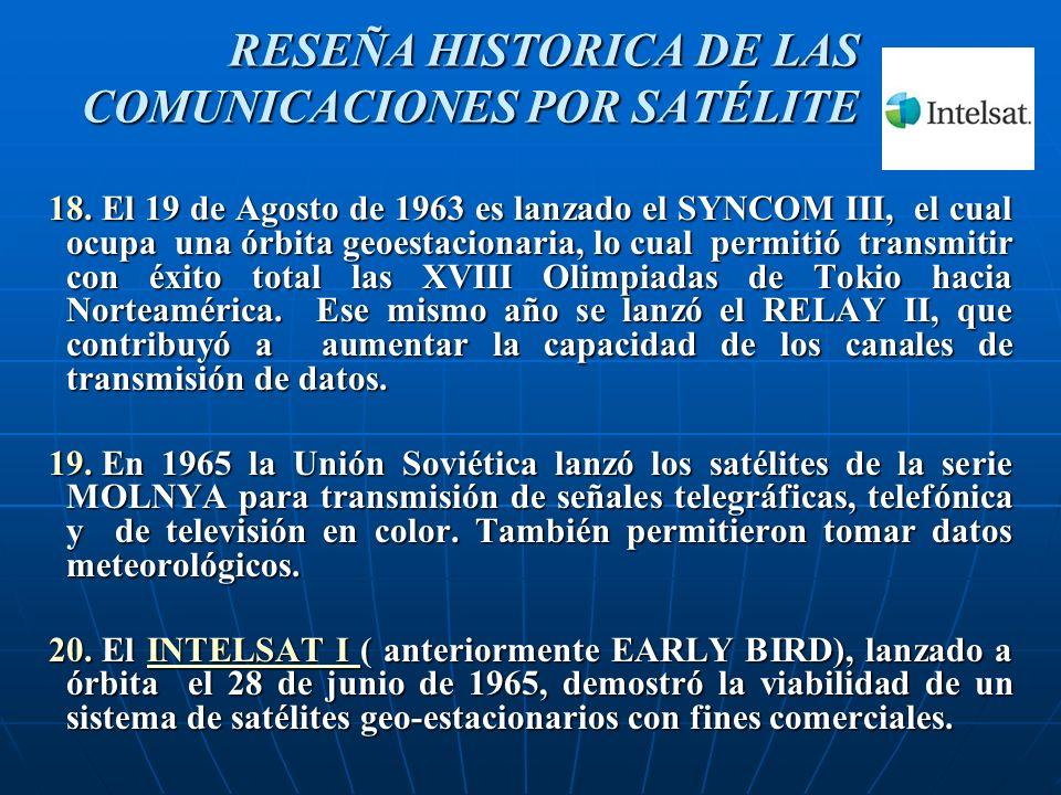 18. El 19 de Agosto de 1963 es lanzado el SYNCOM III, el cual ocupa una órbita geoestacionaria, lo cual permitió transmitir con éxito total las XVIII
