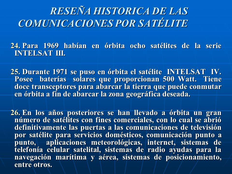 24.Para 1969 habían en órbita ocho satélites de la serie INTELSAT III.