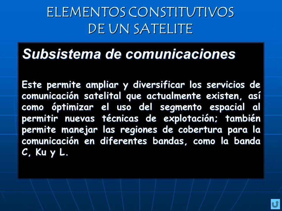 ELEMENTOS CONSTITUTIVOS DE UN SATELITE Subsistema de comunicaciones Este permite ampliar y diversificar los servicios de comunicación satelital que actualmente existen, así como óptimizar el uso del segmento espacial al permitir nuevas técnicas de explotación; también permite manejar las regiones de cobertura para la comunicación en diferentes bandas, como la banda C, Ku y L.