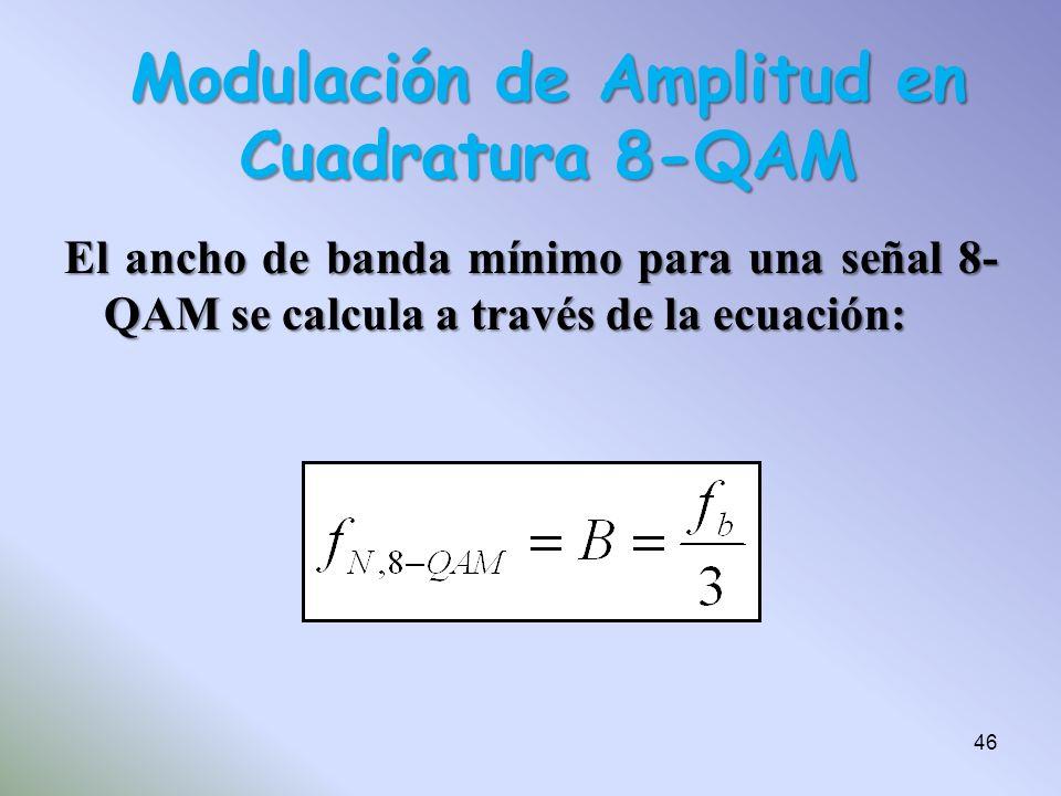 El ancho de banda mínimo para una señal 8- QAM se calcula a través de la ecuación: Modulación de Amplitud en Cuadratura 8-QAM 46