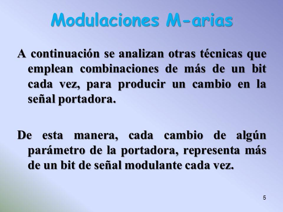 Modulaciones M-arias A continuación se analizan otras técnicas que emplean combinaciones de más de un bit cada vez, para producir un cambio en la seña