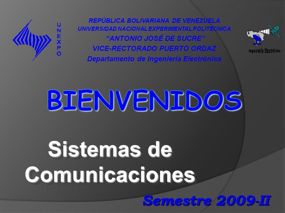 Sistemas de Comunicaciones REPÚBLICA BOLIVARIANA DE VENEZUELA UNIVERSIDAD NACIONAL EXPERIMENTAL POLITÉCNICA ANTONIO JOSÉ DE SUCRE VICE-RECTORADO PUERTO ORDAZ Departamento de Ingeniería Electrónica Semestre 2009-II