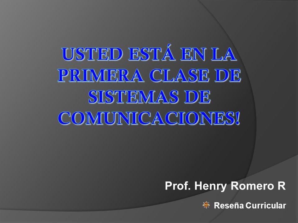 Prof. Henry Romero R Reseña Curricular