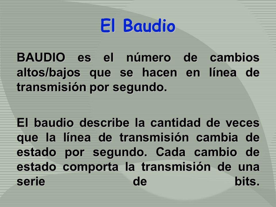 El Baudio BAUDIO es el número de cambios altos/bajos que se hacen en línea de transmisión por segundo. El baudio describe la cantidad de veces que la