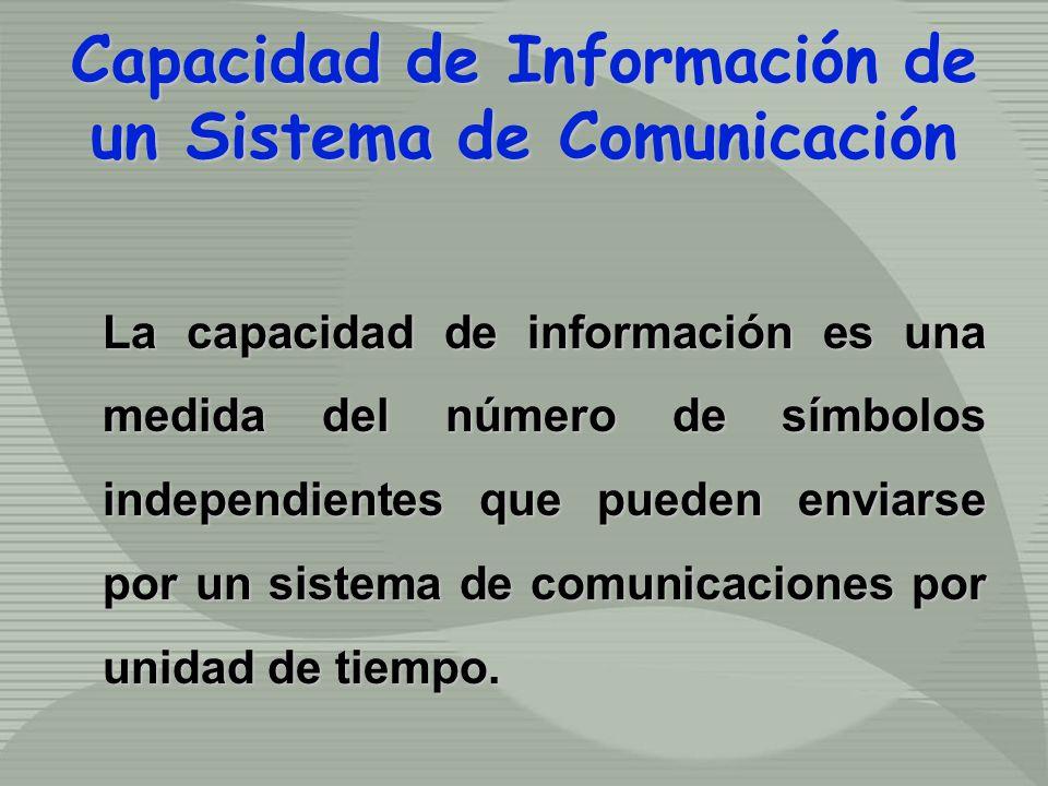 Capacidad de Información de un Sistema de Comunicación La capacidad de información es una medida del número de símbolos independientes que pueden enviarse por un sistema de comunicaciones por unidad de tiempo.