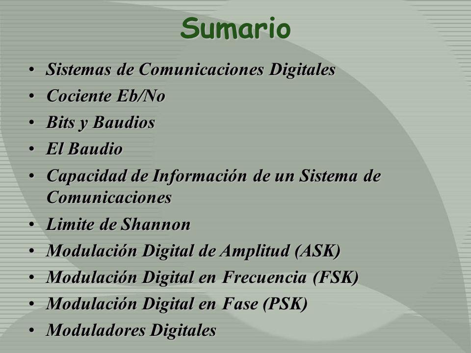 Sumario Sistemas de Comunicaciones DigitalesSistemas de Comunicaciones Digitales Cociente Eb/NoCociente Eb/No Bits y BaudiosBits y Baudios El BaudioEl