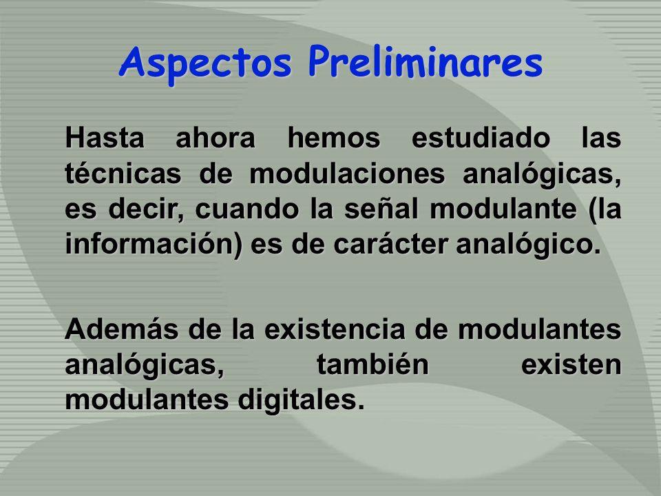 Aspectos Preliminares Hasta ahora hemos estudiado las técnicas de modulaciones analógicas, es decir, cuando la señal modulante (la información) es de carácter analógico.