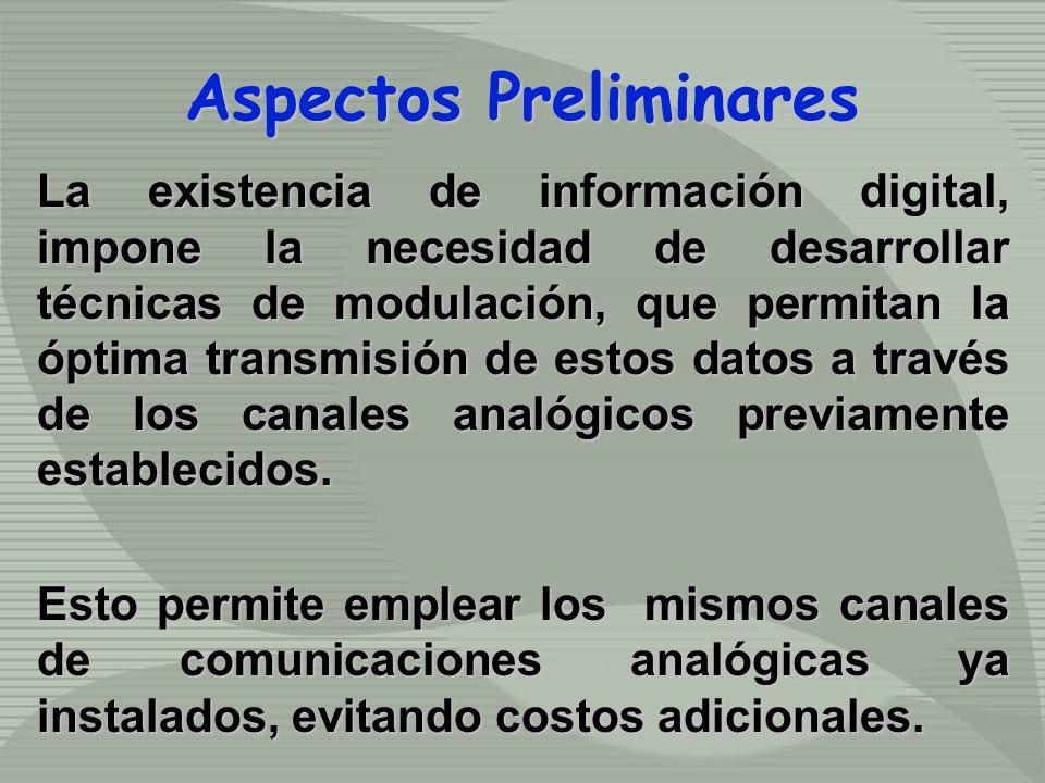 La existencia de información digital, impone la necesidad de desarrollar técnicas de modulación, que permitan la óptima transmisión de estos datos a t