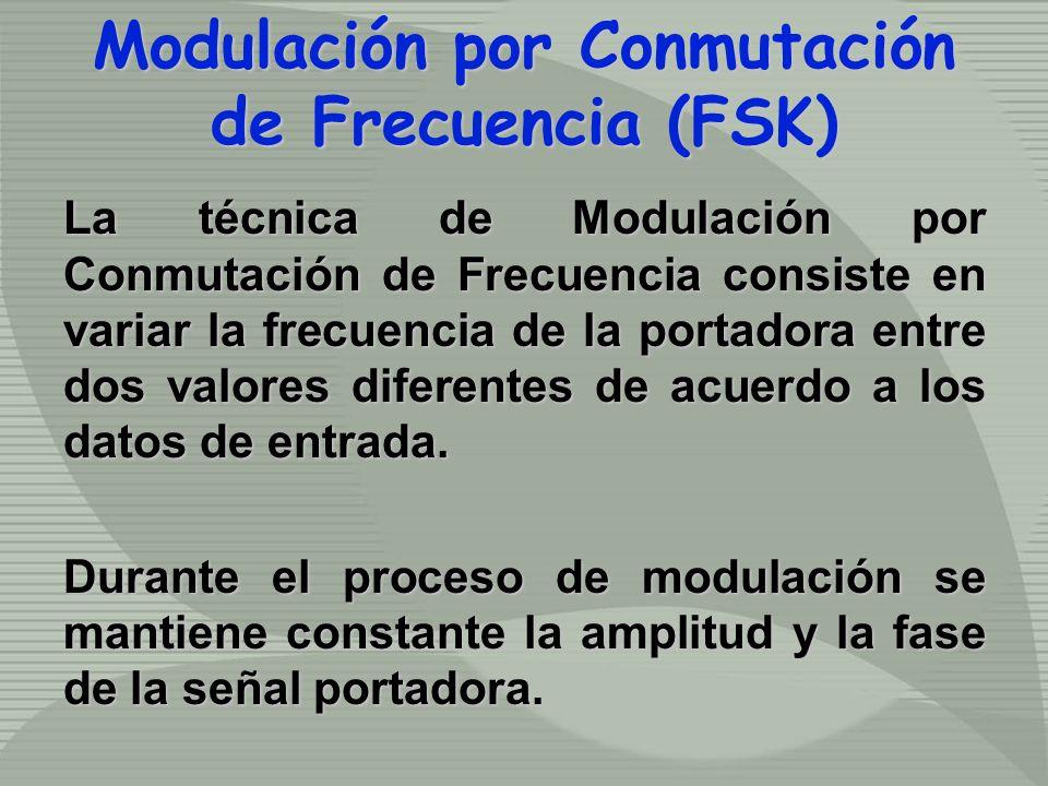 Modulación por Conmutación de Frecuencia (FSK) Modulación por Conmutación de Frecuencia (FSK) La técnica de Modulación por Conmutación de Frecuencia consiste en variar la frecuencia de la portadora entre dos valores diferentes de acuerdo a los datos de entrada.