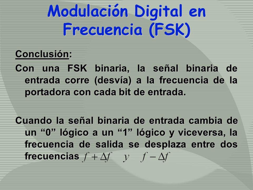 Conclusión: Con una FSK binaria, la señal binaria de entrada corre (desvía) a la frecuencia de la portadora con cada bit de entrada. Cuando la señal b