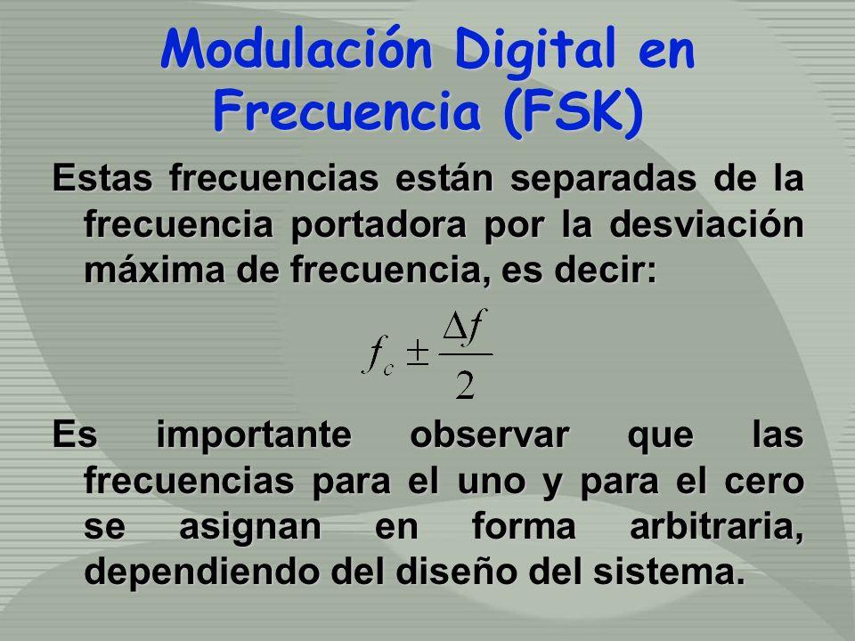 Estas frecuencias están separadas de la frecuencia portadora por la desviación máxima de frecuencia, es decir: Es importante observar que las frecuenc