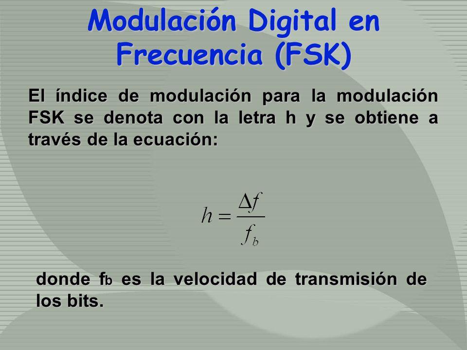 El índice de modulación para la modulación FSK se denota con la letra h y se obtiene a través de la ecuación: Modulación Digital en Frecuencia (FSK) Modulación Digital en Frecuencia (FSK) donde f b es la velocidad de transmisión de los bits.