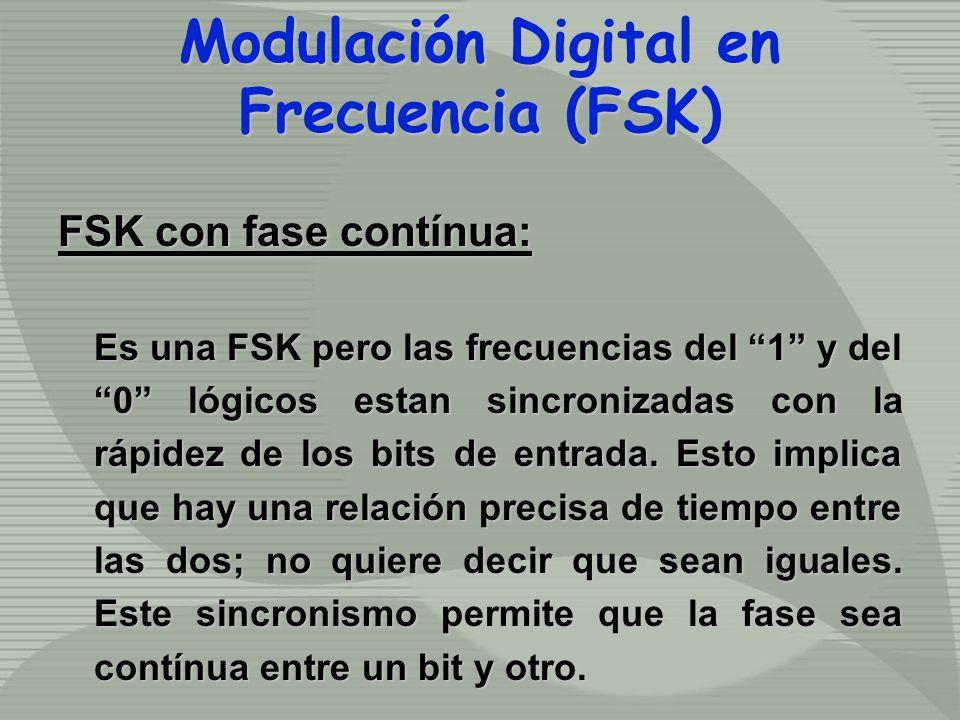 FSK con fase contínua: Es una FSK pero las frecuencias del 1 y del 0 lógicos estan sincronizadas con la rápidez de los bits de entrada. Esto implica q