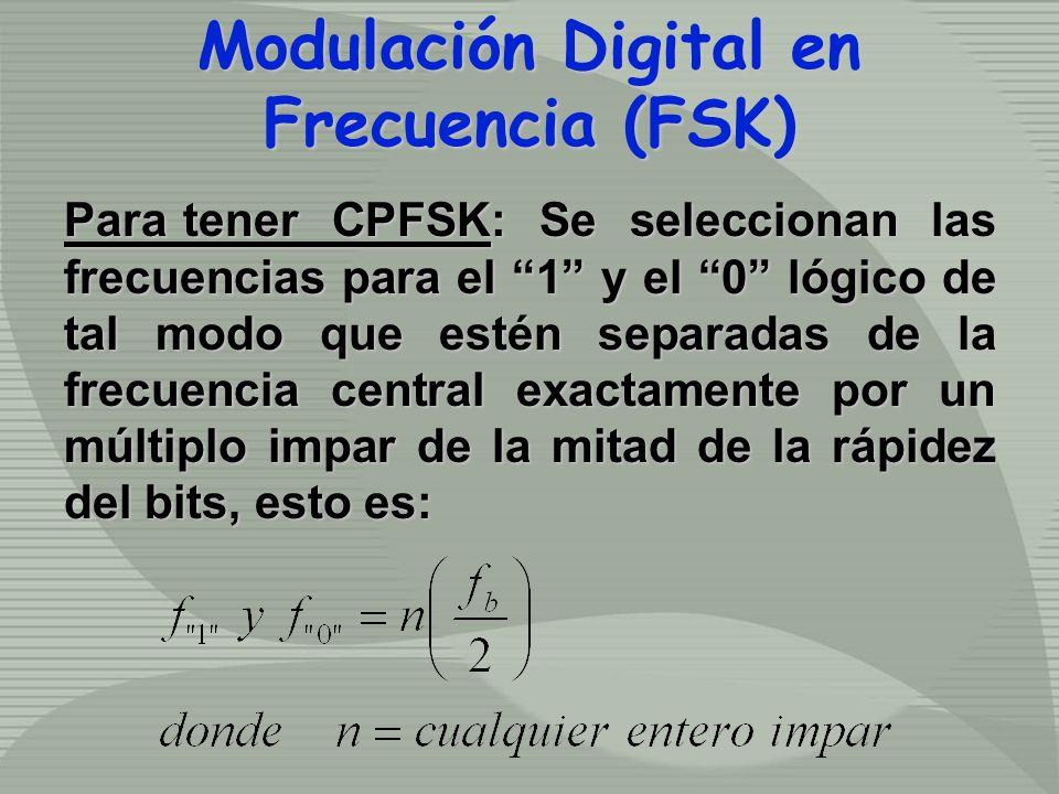 Para tener CPFSK: Se seleccionan las frecuencias para el 1 y el 0 lógico de tal modo que estén separadas de la frecuencia central exactamente por un múltiplo impar de la mitad de la rápidez del bits, esto es: Modulación Digital en Frecuencia (FSK) Modulación Digital en Frecuencia (FSK)