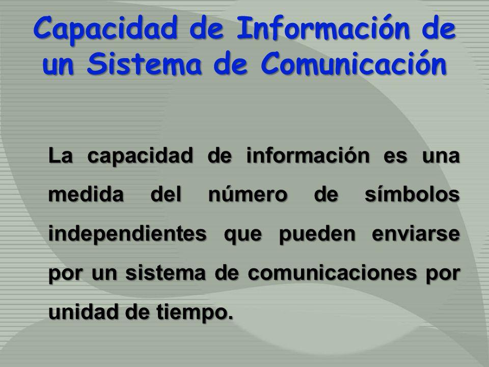 Capacidad de Información de un Sistema de Comunicación La capacidad de información es una medida del número de símbolos independientes que pueden envi