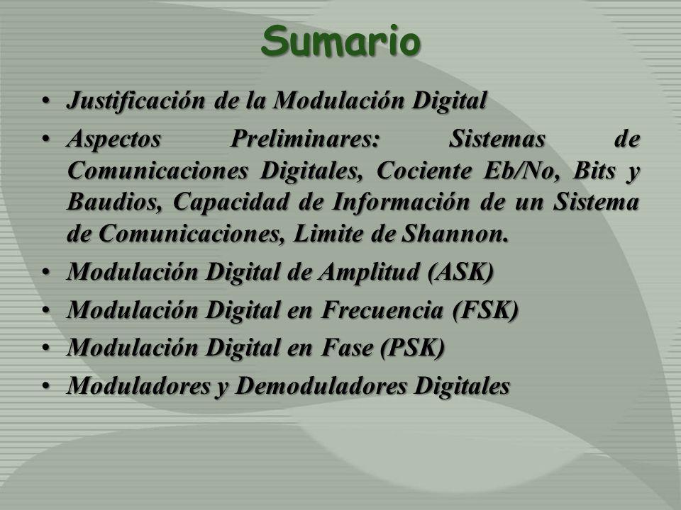 Sumario Justificación de la Modulación DigitalJustificación de la Modulación Digital Aspectos Preliminares: Sistemas de Comunicaciones Digitales, Coci