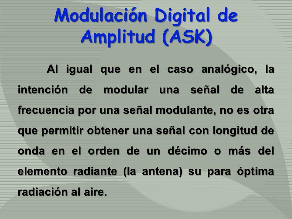 Al igual que en el caso analógico, la intención de modular una señal de alta frecuencia por una señal modulante, no es otra que permitir obtener una s