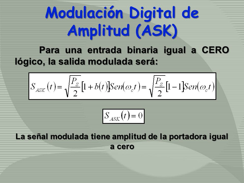 Para una entrada binaria igual a CERO lógico, la salida modulada será: Modulación Digital de Amplitud (ASK) La señal modulada tiene amplitud de la por