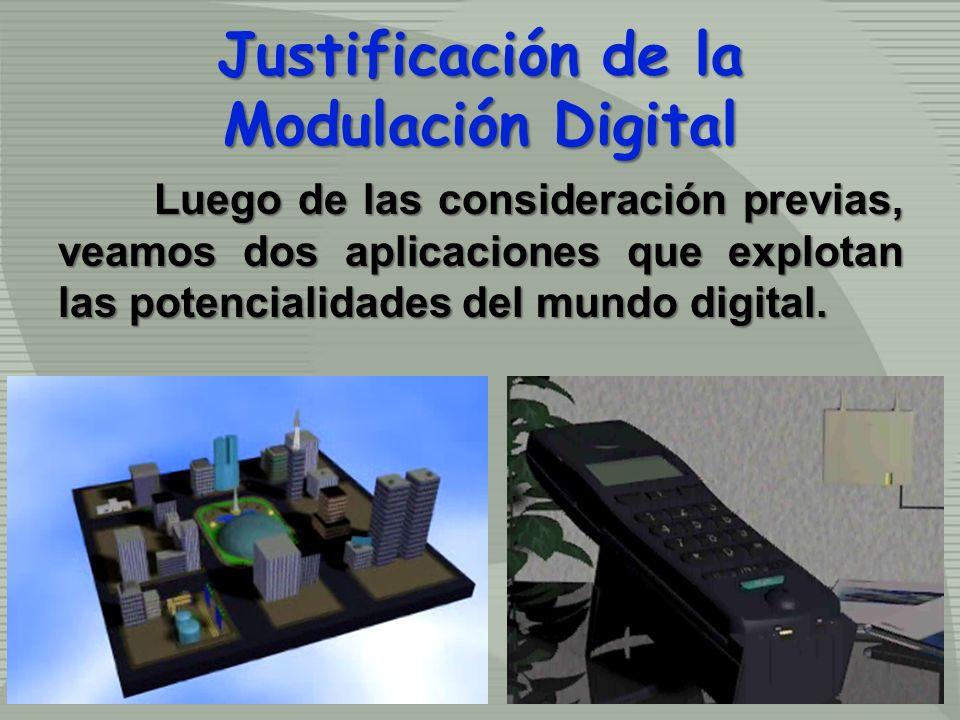 Justificación de la Modulación Digital Luego de las consideración previas, veamos dos aplicaciones que explotan las potencialidades del mundo digital.