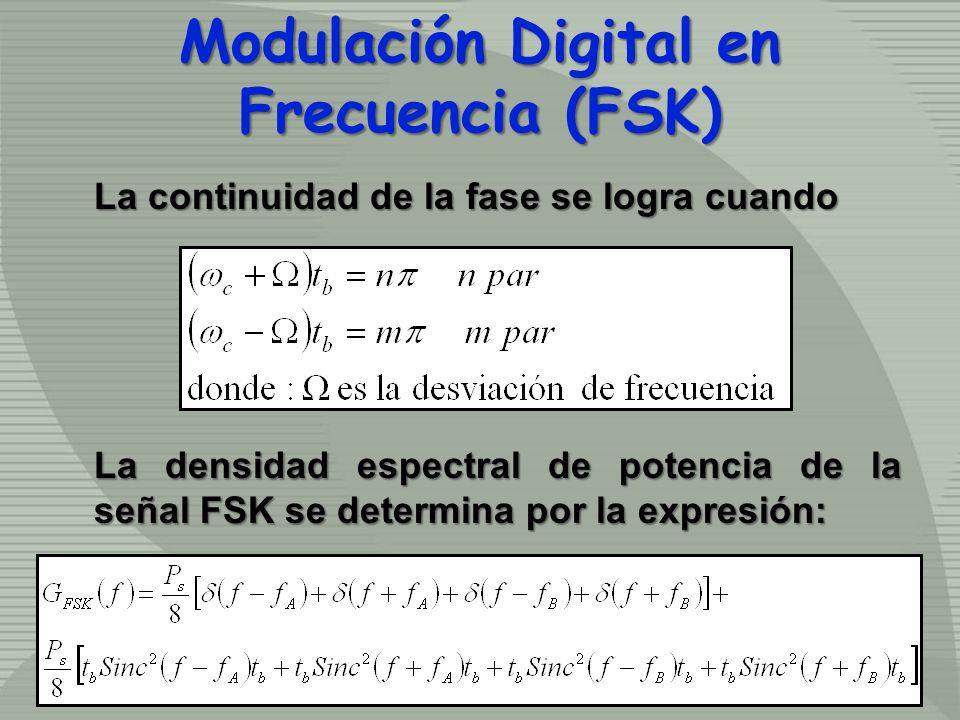 La continuidad de la fase se logra cuando La densidad espectral de potencia de la señal FSK se determina por la expresión: Modulación Digital en Frecu