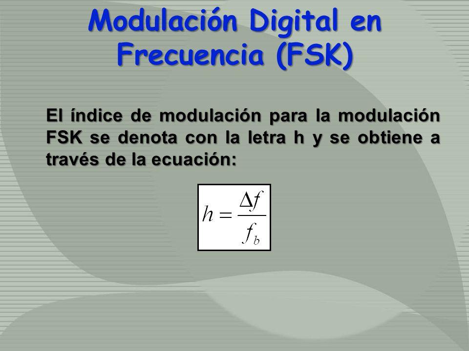 El índice de modulación para la modulación FSK se denota con la letra h y se obtiene a través de la ecuación: Modulación Digital en Frecuencia (FSK)