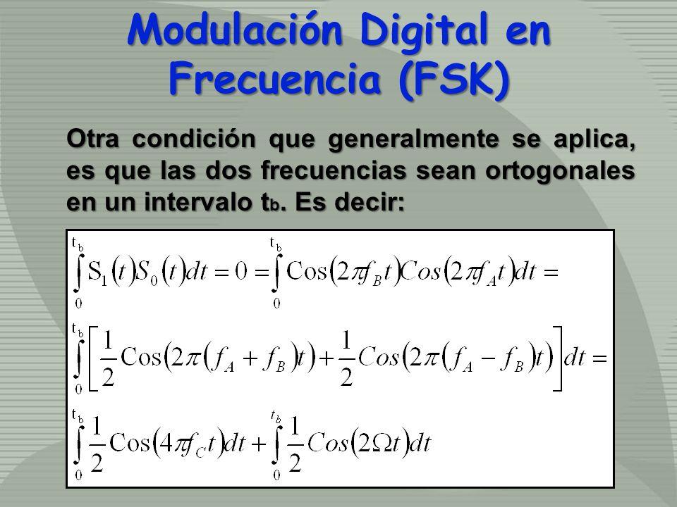 Otra condición que generalmente se aplica, es que las dos frecuencias sean ortogonales en un intervalo t b. Es decir: Modulación Digital en Frecuencia