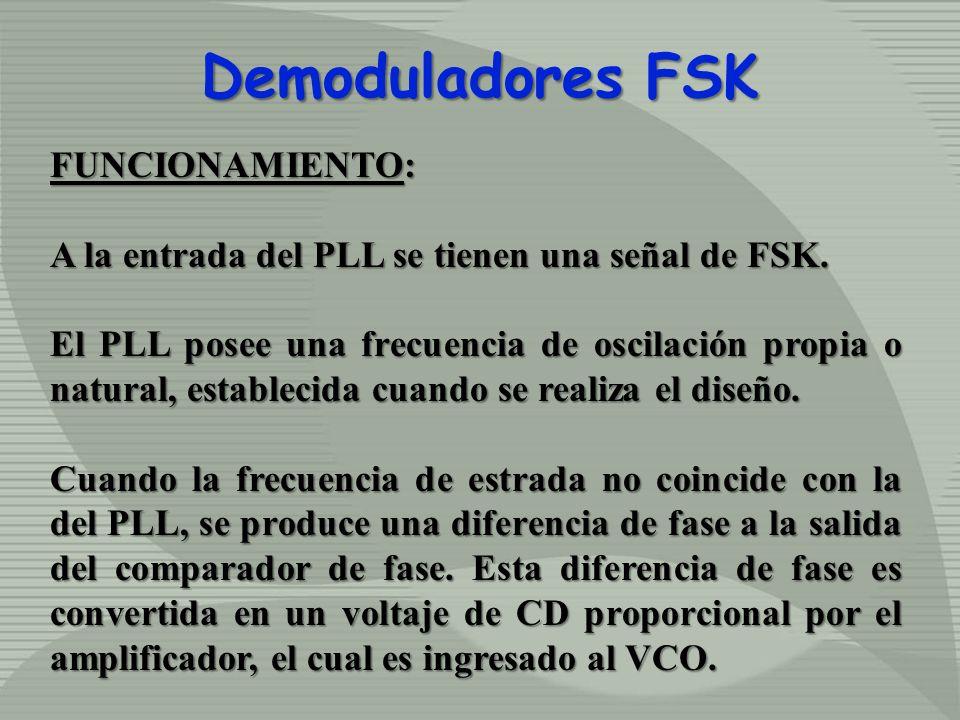 Demoduladores FSK FUNCIONAMIENTO: A la entrada del PLL se tienen una señal de FSK. El PLL posee una frecuencia de oscilación propia o natural, estable