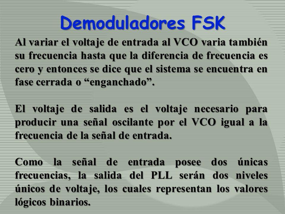 Demoduladores FSK Al variar el voltaje de entrada al VCO varia también su frecuencia hasta que la diferencia de frecuencia es cero y entonces se dice