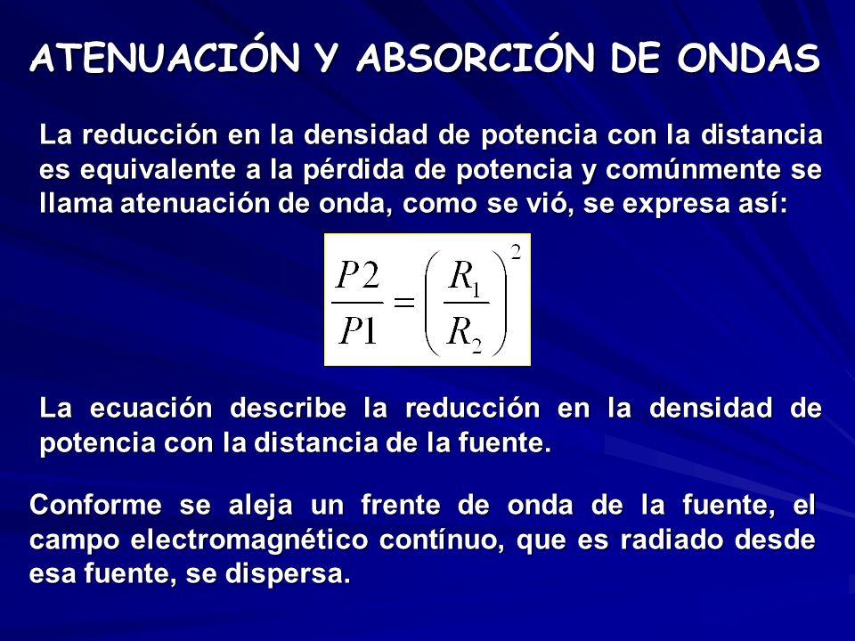 ATENUACIÓN Y ABSORCIÓN DE ONDAS La reducción en la densidad de potencia con la distancia es equivalente a la pérdida de potencia y comúnmente se llama