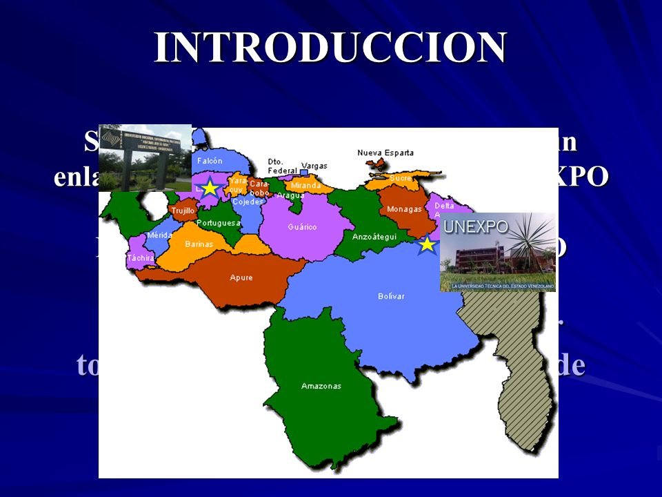 INTRODUCCION Supongamos que se desea establecer un enlace de comunicaciones entre la UNEXPO V/R PUERTO ORDAZ y la sede del RECTORADO en BARQUISIMETO ¿