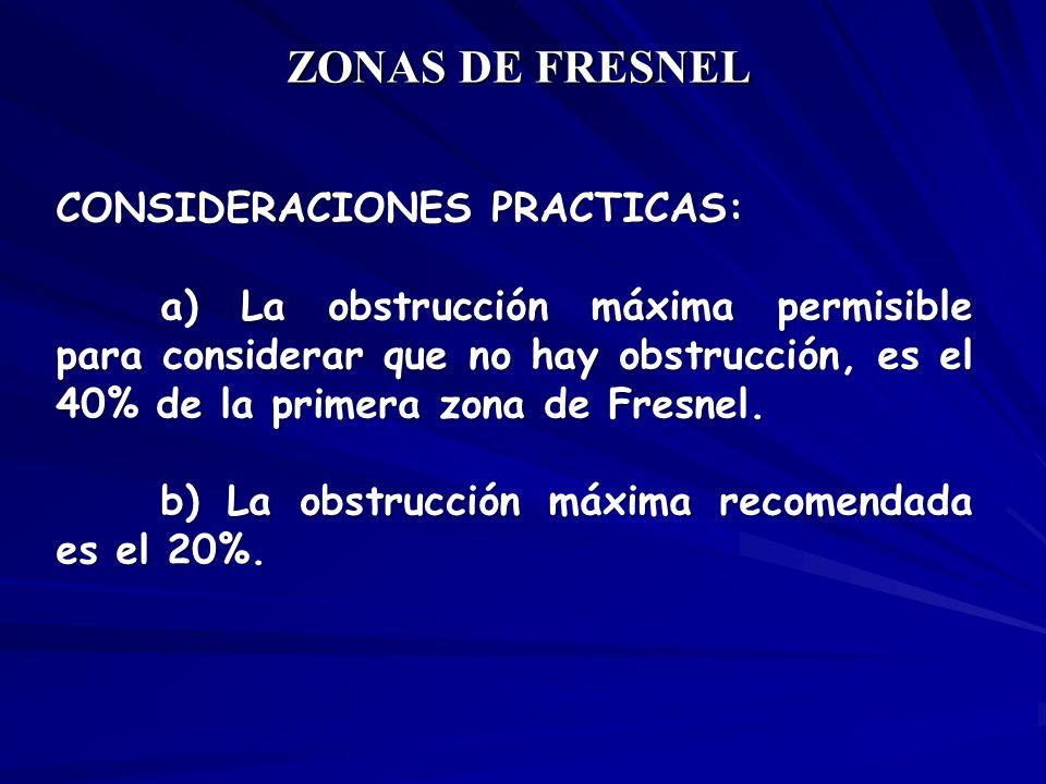 CONSIDERACIONES PRACTICAS: a) La obstrucción máxima permisible para considerar que no hay obstrucción, es el 40% de la primera zona de Fresnel. b) La