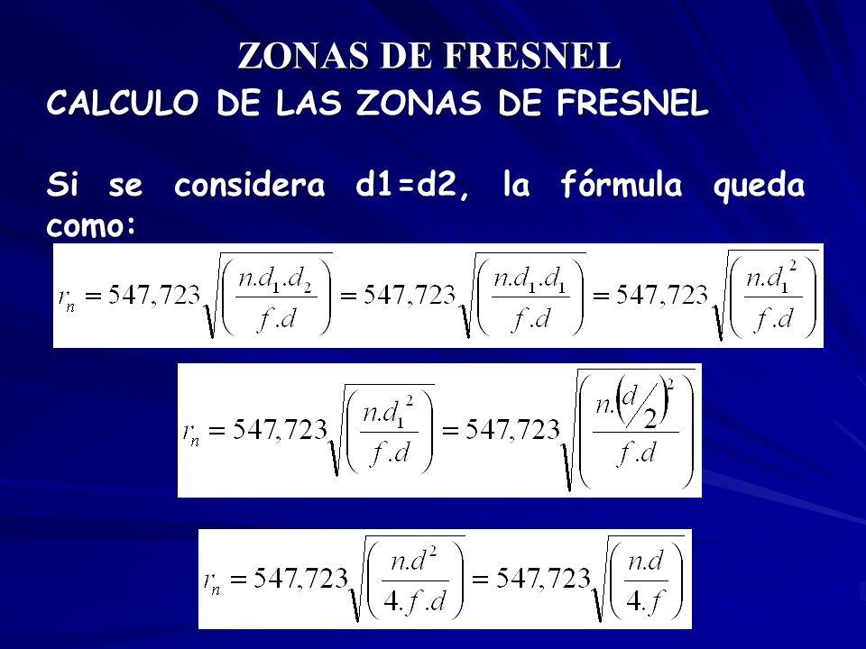 CALCULO DE LAS ZONAS DE FRESNEL Si se considera d1=d2, la fórmula queda como: ZONAS DE FRESNEL
