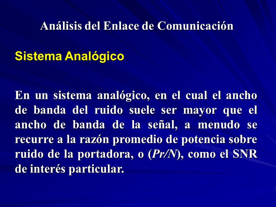 Análisis del Enlace de Comunicación Sistema Analógico En un sistema analógico, en el cual el ancho de banda del ruido suele ser mayor que el ancho de