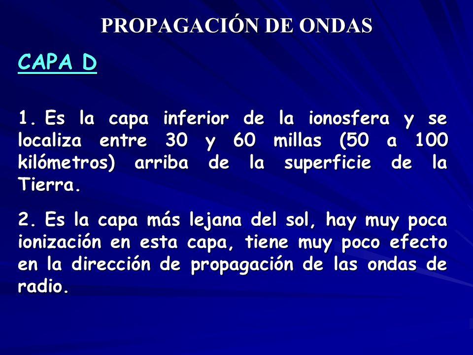 PROPAGACIÓN DE ONDAS CAPA D 1. Es la capa inferior de la ionosfera y se localiza entre 30 y 60 millas (50 a 100 kilómetros) arriba de la superficie de