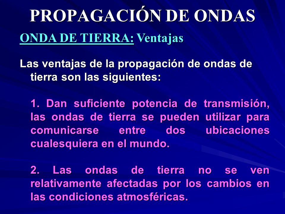 ONDA DE TIERRA: Ventajas Las ventajas de la propagación de ondas de tierra son las siguientes: 1. Dan suficiente potencia de transmisión, las ondas de