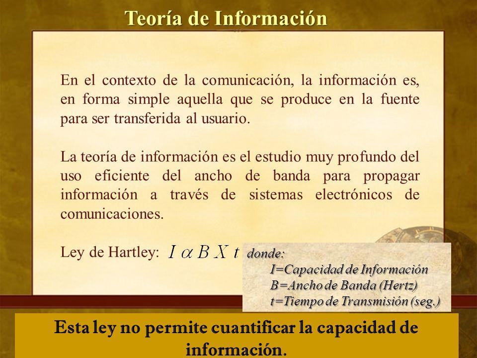 Teoría de Información En el contexto de la comunicación, la información es, en forma simple aquella que se produce en la fuente para ser transferida al usuario.