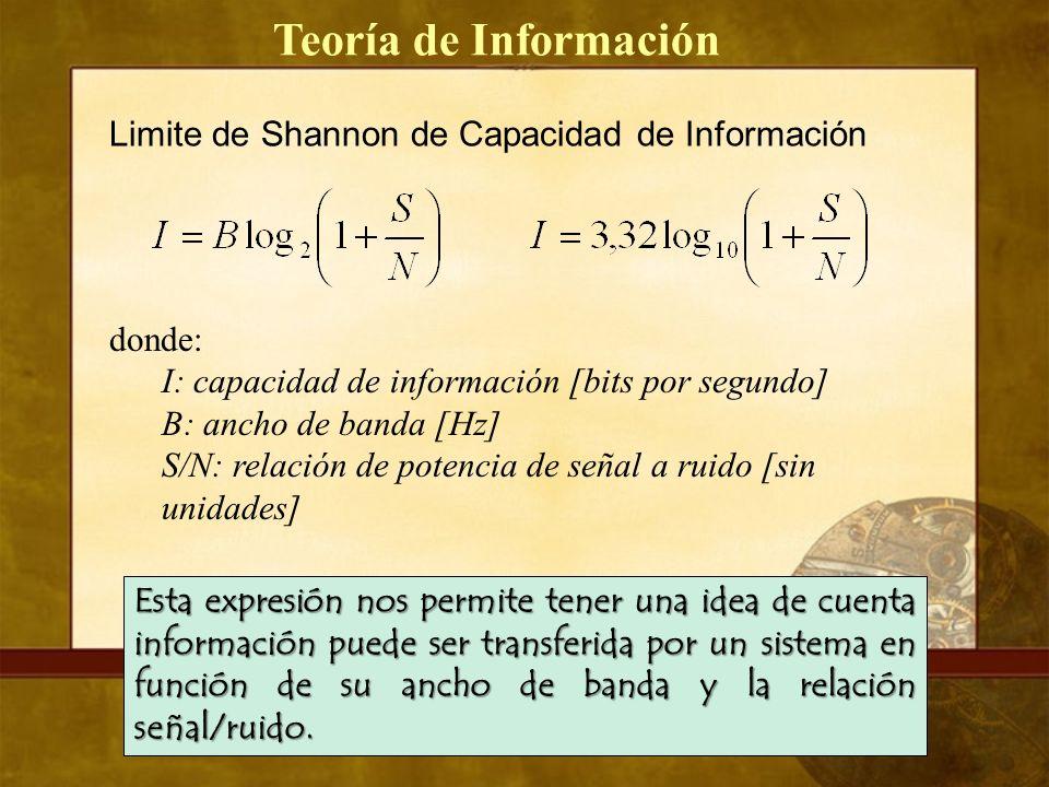 Teoría de Información Limite de Shannon de Capacidad de Información donde: I: capacidad de información [bits por segundo] B: ancho de banda [Hz] S/N: relación de potencia de señal a ruido [sin unidades] Esta expresión nos permite tener una idea de cuenta información puede ser transferida por un sistema en función de su ancho de banda y la relación señal/ruido.