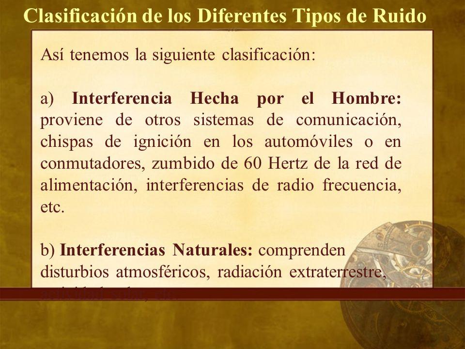 Así tenemos la siguiente clasificación: a) Interferencia Hecha por el Hombre: proviene de otros sistemas de comunicación, chispas de ignición en los automóviles o en conmutadores, zumbido de 60 Hertz de la red de alimentación, interferencias de radio frecuencia, etc.
