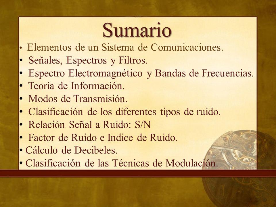 Elementos de un Sistema de Comunicaciones Elementos de un Sistema de Comunicaciones Un sistema de comunicación, en forma general, está constituido por los siguientes elementos básicos: Tx Rx CANAL RUIDO/INTERFERENCIAS RECEPTOR DESTINATARIO TRANSMISOR FUENTE