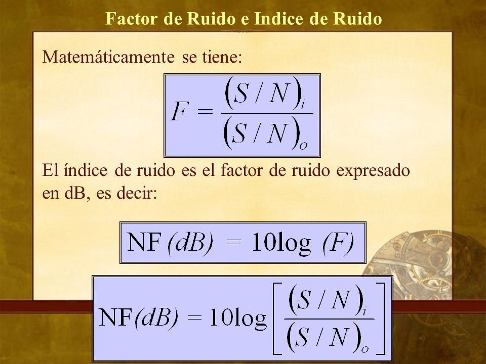 Factor de Ruido e Indice de Ruido Matemáticamente se tiene: El índice de ruido es el factor de ruido expresado en dB, es decir: