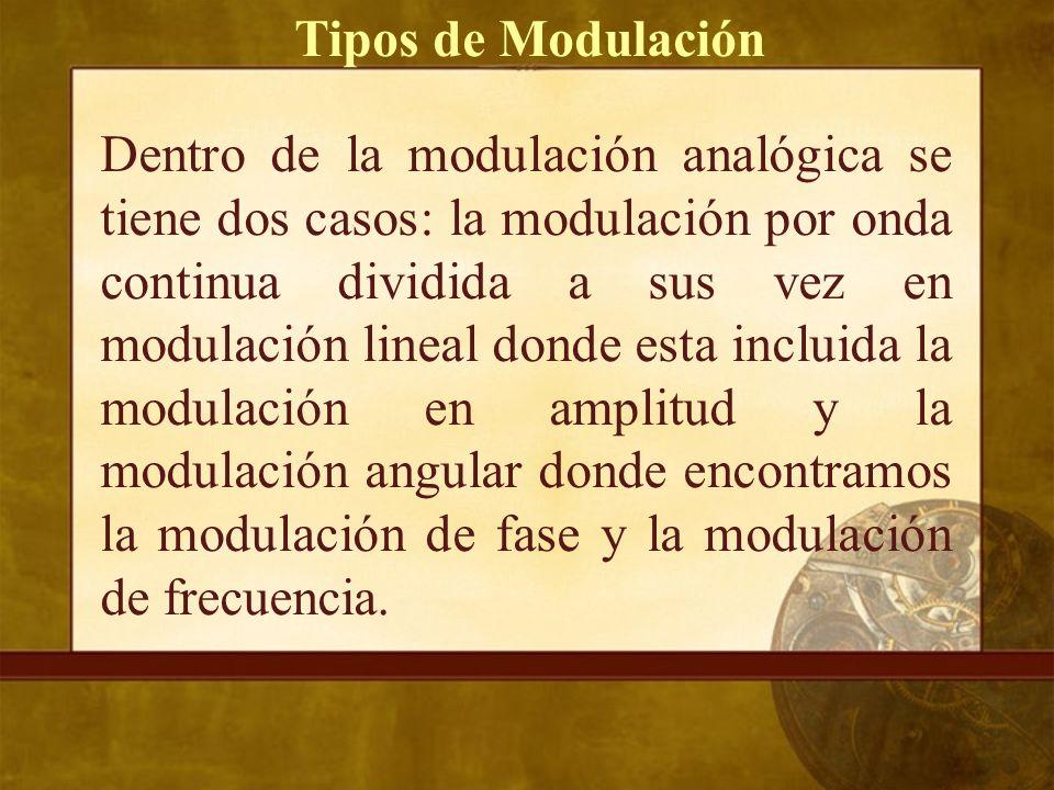 Dentro de la modulación analógica se tiene dos casos: la modulación por onda continua dividida a sus vez en modulación lineal donde esta incluida la modulación en amplitud y la modulación angular donde encontramos la modulación de fase y la modulación de frecuencia.